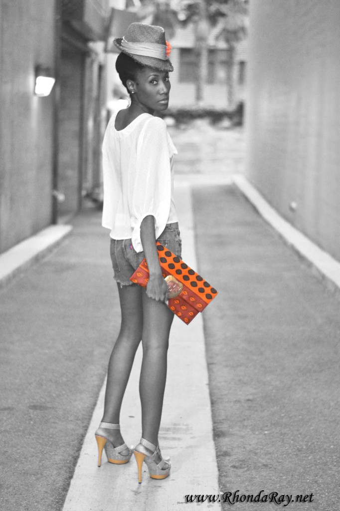 kente, straw hat, jeans, bow shirt, daisy dukes, kente clutch