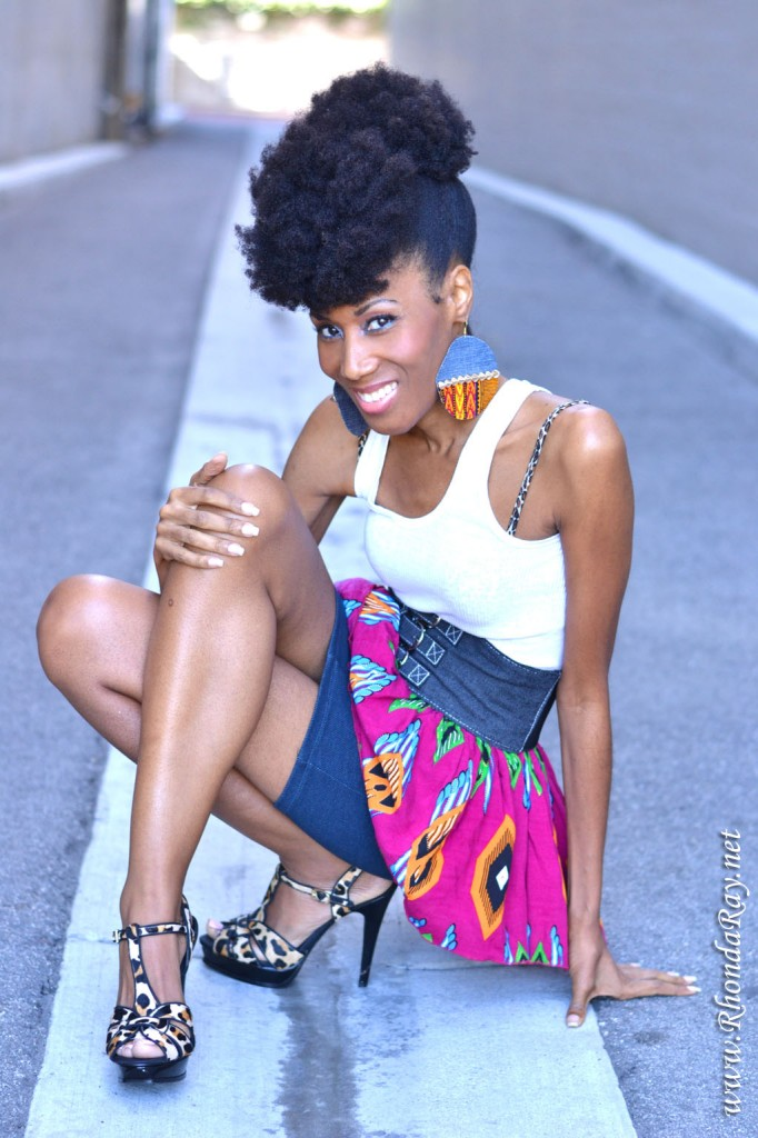 Rhonda Ray, spikes, Kente, skirt, Afrolicious